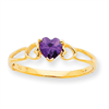 10k Polished Geniune Amethyst Birthstone Ring