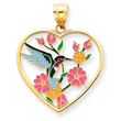 14K Enameled Hummingbird With Flowers Heart Pendant