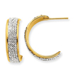14K Gold 6mm Crystal Half Hoop Post Earrings