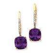 14K Gold Amethyst & Diamond Dangle Earrings