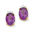 14K Gold Amethyst & Diamond Post Earrings