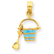 14K Gold  Aqua Enameled Beach Pail With Shovel Pendant