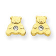 14K Gold Bear with Cubic Zirconia Ear