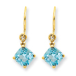 14K Gold Blue Topaz & Diamond Dangle Earrings