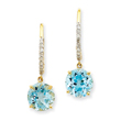 14K Gold Blue Topaz & Diamond Earrings