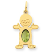 14K Gold Boy 7x5 Oval Genuine Peridot-August Charm