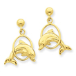 14K Gold Dolphin Jumping Through Hoop Dangle Post Earrings