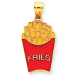 14K Gold  Enameled French Fries Pendant