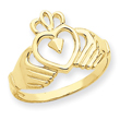 14K Gold Polished Claddagh Ring