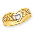 14K Gold & Rhodium V Shaped With Heart Cut-Out Ring