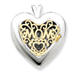 14K Gold & Sterling Silver Heart With  Mom Locket