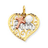 14k Tri-color Faith with Cultured Pearl Pendant