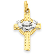 14K  Two-Tone Gold Claddagh Cross Pendant