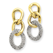 14K  Two-Tone Gold Diamond Drop Earrings