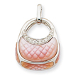 14K  White Gold  Diamond Pink Mother Of Pearl Purse Pendant