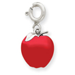 14K  White Gold Enameled Apple Charm