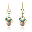 14K Yellow Gold Pearl & Turquoise Earrings