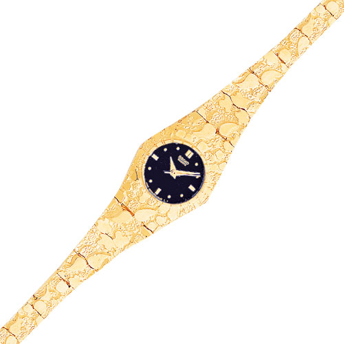 Jewelry - 10K Gold Black Dial Circular Face Nugget Watch.