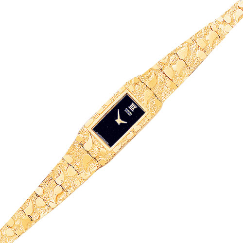 Jewelry - 10K Gold Black Dial Rectangular Face Nugget Watch.