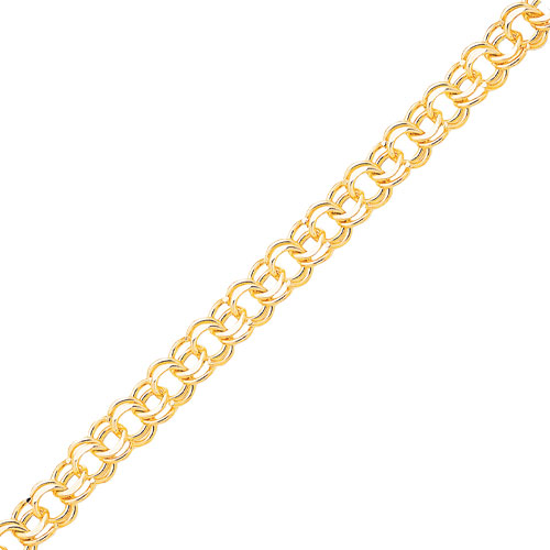 Jewelry - 10K Gold Solid Double Link Charm Bracelet.