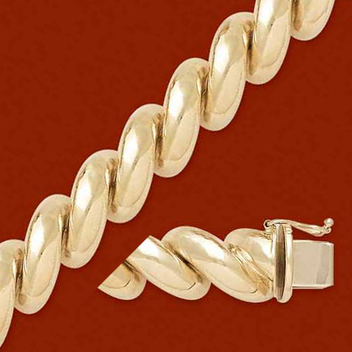 Jewelry - 11mm 14K Gold Polished San Marco Bracelet.