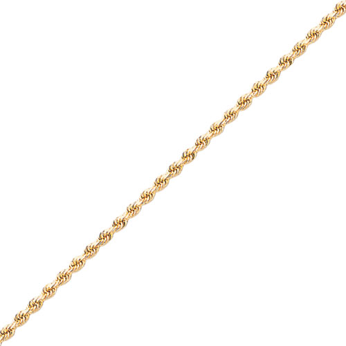 Jewelry - 14K Gold 2.5mm Diamond-Cut Rope With Lobster Clasp Chain.