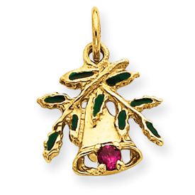 Jewelry - 14K Gold Christmas Bell & Leaves Charm.