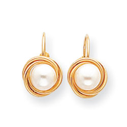 Jewelry - 14K Gold Cultured Pearl Love Knot Earrings.