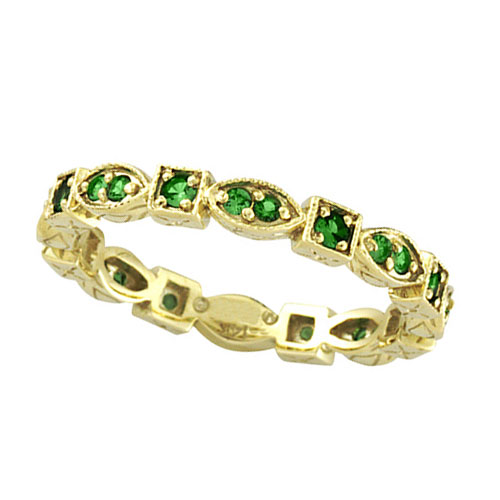 Jewelry - 14K Gold Eternity .34ct Tsavorite Stackable Guard Ring.