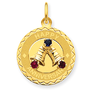 Jewelry - 14K Gold Happy Anniversary With  Bells Charm.