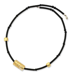 Jewelry - 14K Gold Murano Glass Bead, Onyx & Rubber Necklace.