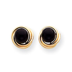 Jewelry - 14K Gold Onyx Love Knot Earrings.