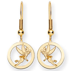 Jewelry - 14K Gold-Plated Silver  Disney Tinker Bell Round Dangle Wire Earrings.