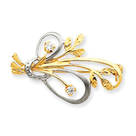 Jewelry - 14K Gold & Rhodium Cubic Zirconia Designer Pin.