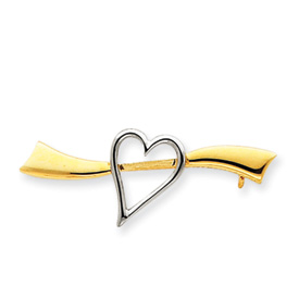 Jewelry - 14k Gold & Rhodium Solid Satin Polished Heart Pin.