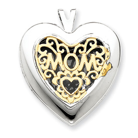 Jewelry - 14K Gold & Sterling Silver Heart With  Mom Locket.