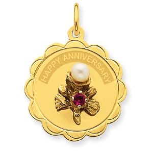 Jewelry - 14K  Happy Anniversary With Flower & Cultured Pearl Charm.