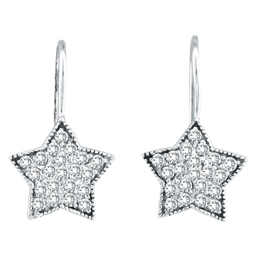 Jewelry - 14K  White Gold .50ct Diamond Star Dangle Earrings.