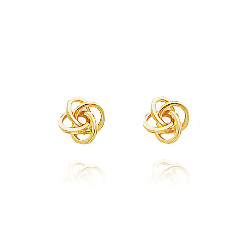 Jewelry - 14K Yellow Gold Modern Polished Love Knot Earrings.