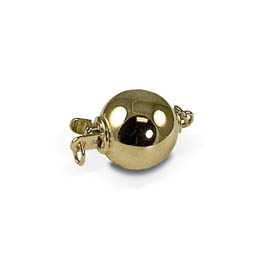 Jewelry - 14KY POLISHED 10MM BALL CLASP W/2 RINGS.