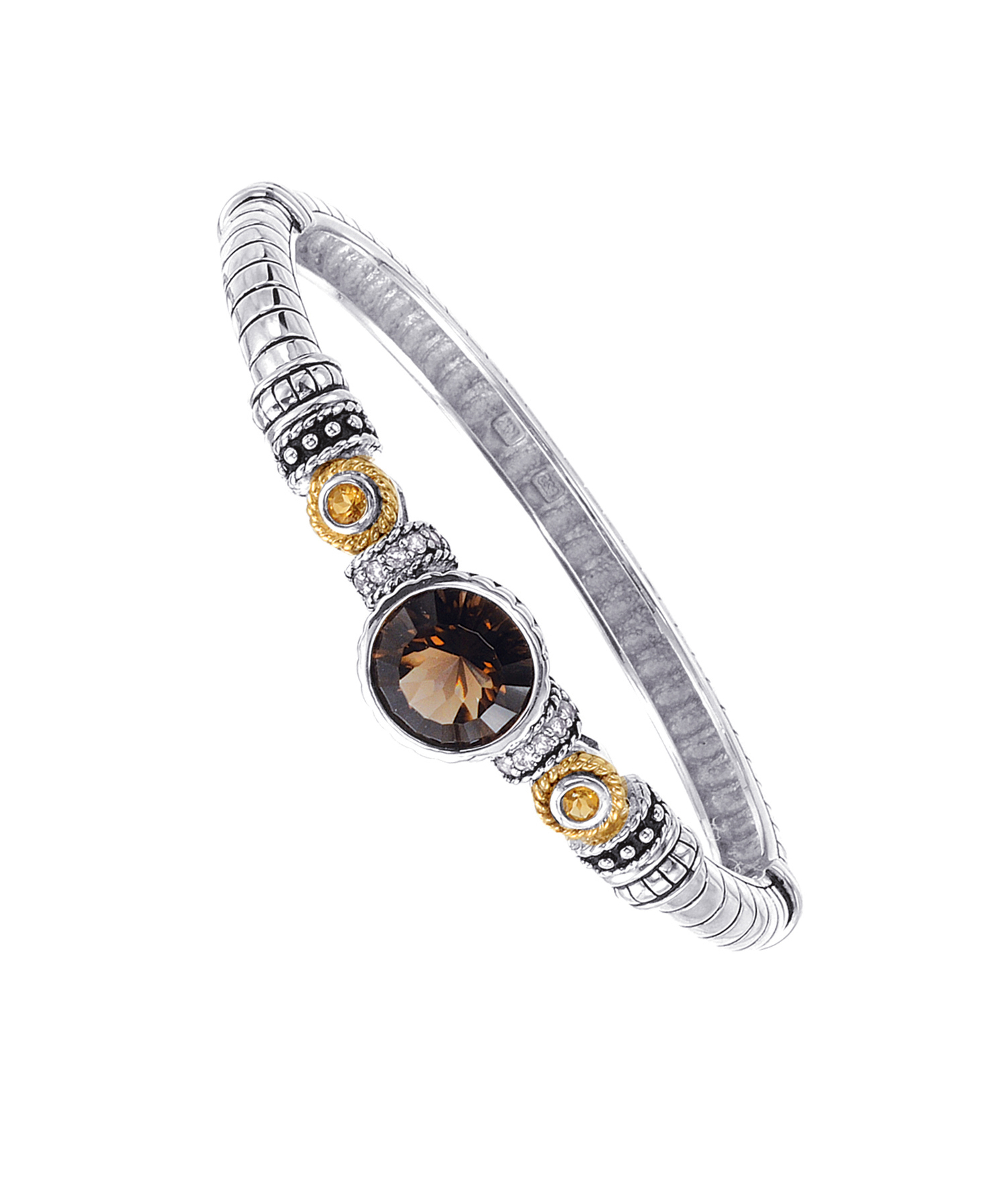 Jewelry - Alesandro Menegati 14K Accented Sterling Silver Bangle with Blue and White Topaz, Smoky Quartz and C.
