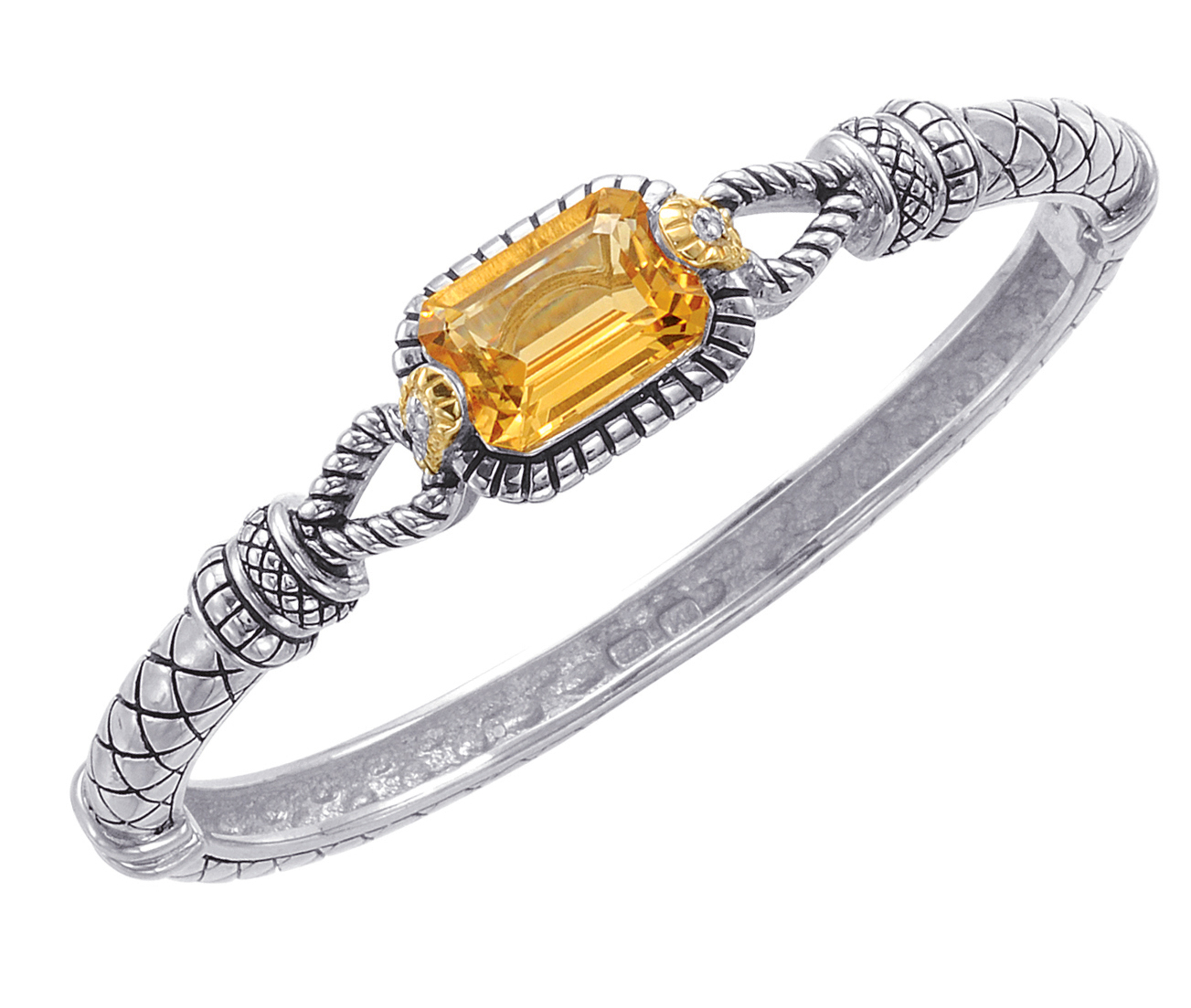 Jewelry - Alesandro Menegati 14K Accented Sterling Silver Bangle with Diamonds and Citrine.