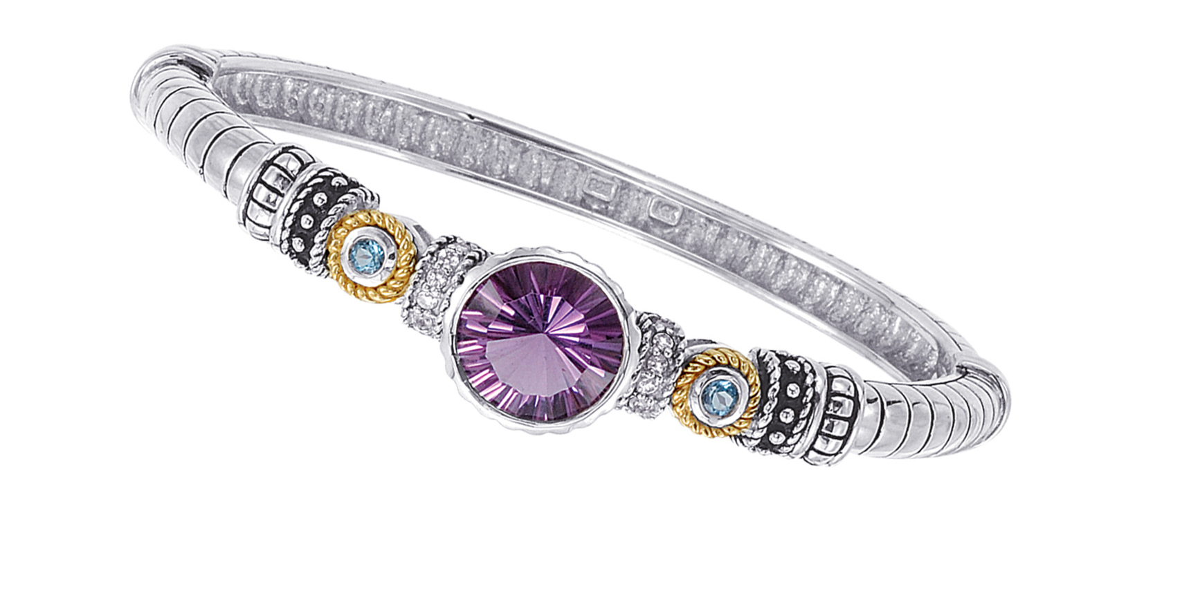 Jewelry - Alesandro Menegati 14K Accented Sterling Silver Bangle with White and Blue Topaz and Amethyst.