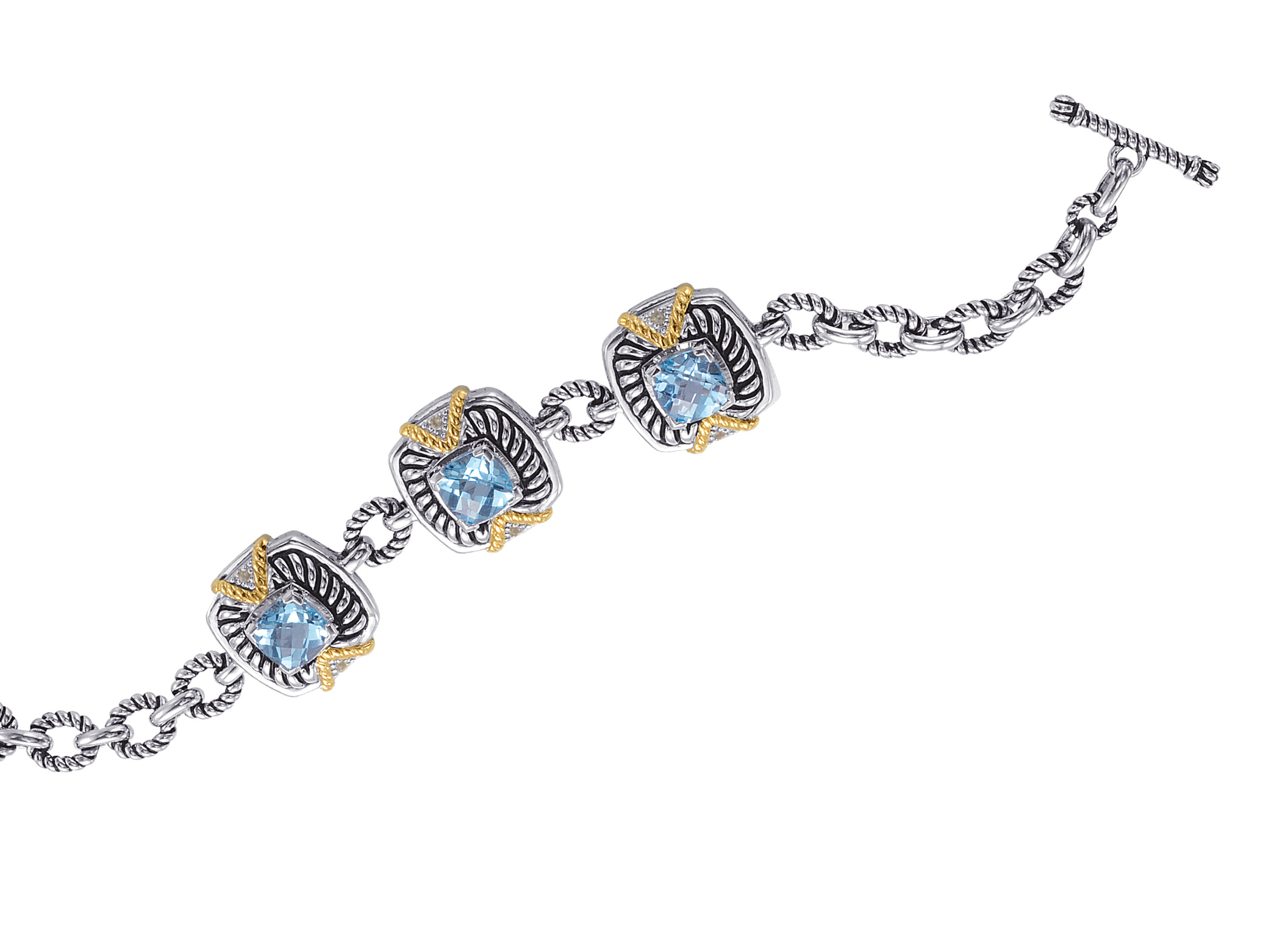 Jewelry - Alesandro Menegati 14K Accented Sterling Silver Bracelet with Blue and White Topaz.