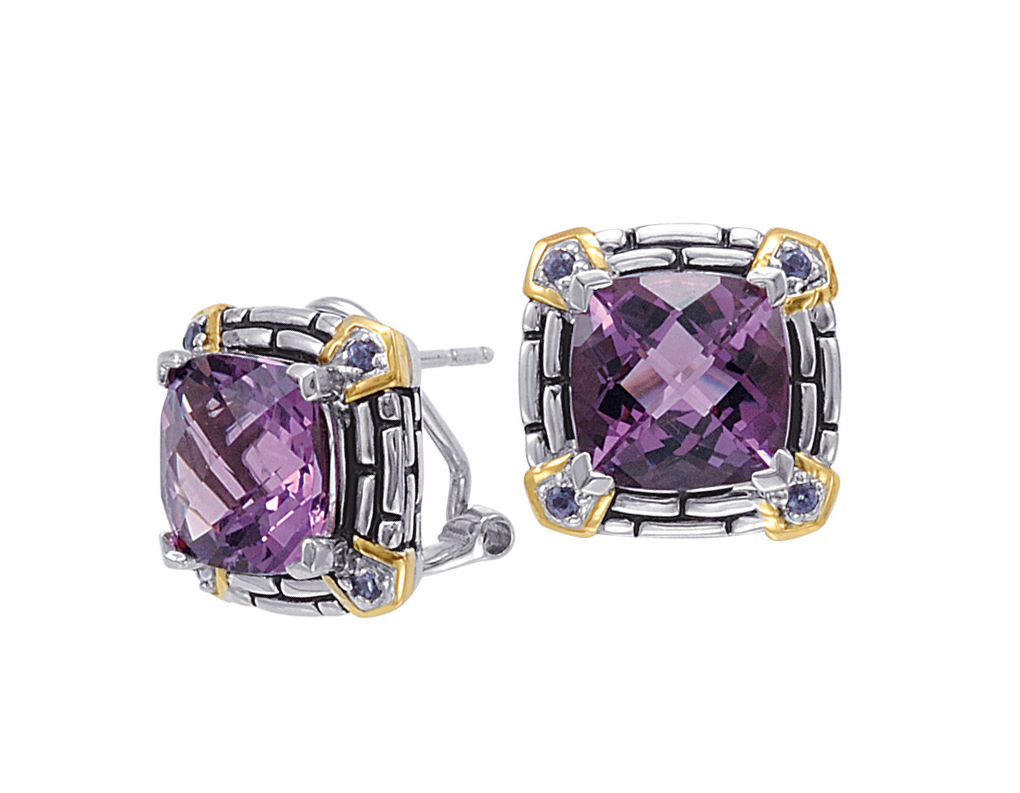 Jewelry - Alesandro Menegati 14K Accented Sterling Silver Earrings with Amethyst and Iolite.