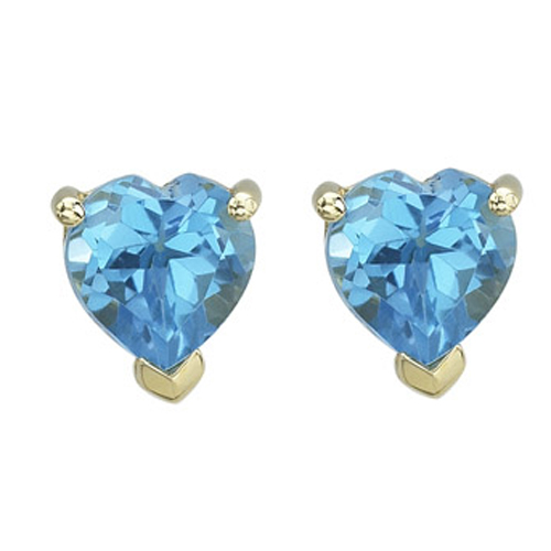 Jewelry - HEART SHAPE BLUE TOPAZ PRONG SET STUDS.
