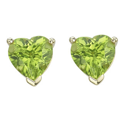 Jewelry - HEART SHAPE GREEN PERIDOT PRONG SET STUDS.