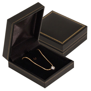 Jewelry - Leatherette Flat Pendant Goldtrimmed Box.