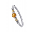 Alesandro Menegati 14K Accented Sterling Silver Bangle with White Topaz, Peridot and Citrine