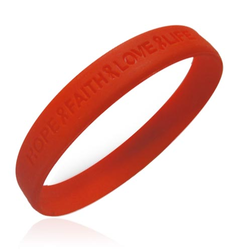 "Jewelry - Official Aids ""Hope Faith Love Life"" Red Awareness Wristband."
